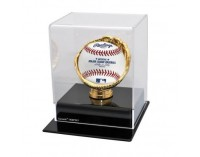 Baseball Case With Gold Glove And Black Acrylic Base