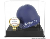 Baseball Helmet Display Case With Baseball Holder